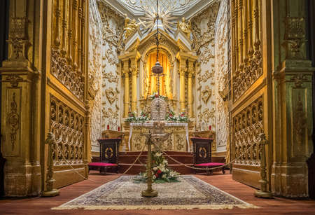 lavish: Stunning altar in the Church of San Sebastian in Ponta Delgada, Sao Miguel Island, Azores, Portugal