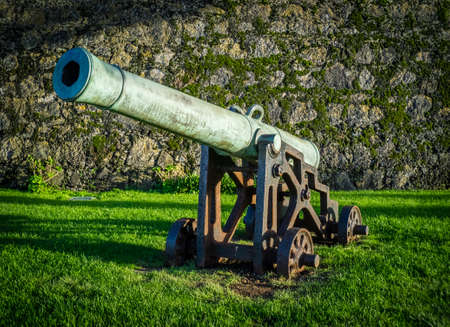 weaponry: Old cannon in front of the fort in Ponta Delgada, Sao Miguel, Azores, Portugal