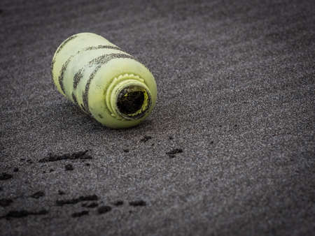 the thrown: Plastic bottle thrown out of the sea to the beach
