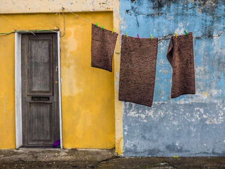 needy: Laundry hanging in front of the people home in poor neighbourhood in Ponta Delgada, Azores, Portugal