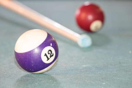 billard: Billard ball number 12 on green billard table Stock Photo