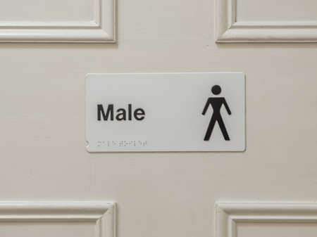 hygien: Male toilet sign on the door in a hotel