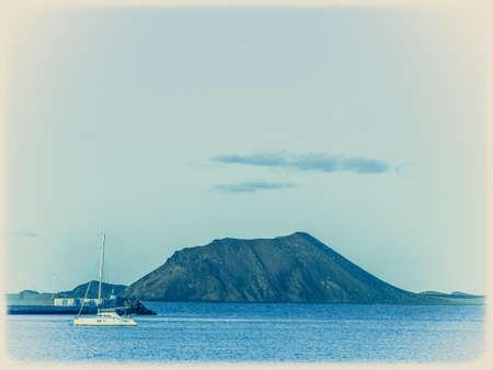 corralejo: Los Lobos Island as seen from the harbour in Corralejo, Fuerteventura, Canary Island, Spain Stock Photo