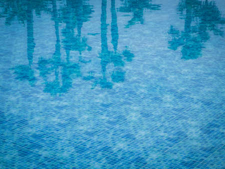 palmtrees: Reflection of few palmtrees in a water of a swimming pool with squared pattern floor tiles Stock Photo