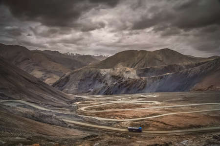 Road to the mountain pass Stock Photo