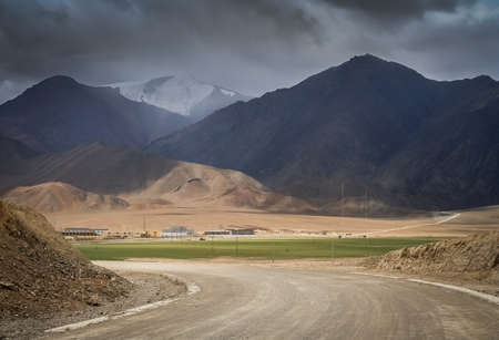 disputed: Road leading to the chinese city Rutok located in the Aksai Chin region - one of the two main disputed border areas Stock Photo