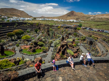 manrique: Lanzarote, Spain -  August 22, 2016:  People resting in the Cactus Garden designed by Cesar Manrique, Lanzarote, Canary Islands, Spain