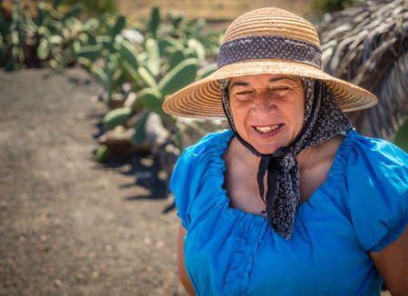 lanzarote: Lanzarote, Spain -  August 22, 2016: Portrait of an old woman from Lanzarote, Canary Islands, Spain