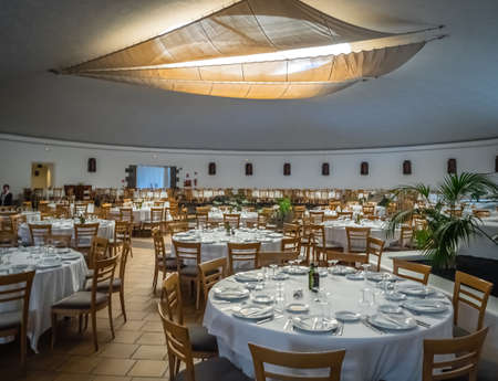 manrique: Lanzarote, Spain -  August 22, 2016: Restaurant inside the underground volcanic chamber in the Cesar Marique Foundation in Tahiche, Lanzarote, Canary Islands, Spain