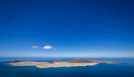 View of the La Graciosa, Allegranza and Montana Clara islands as seen from the Mirador del Rio, Lanzarote, Canary Islands, Spain Stock Photo