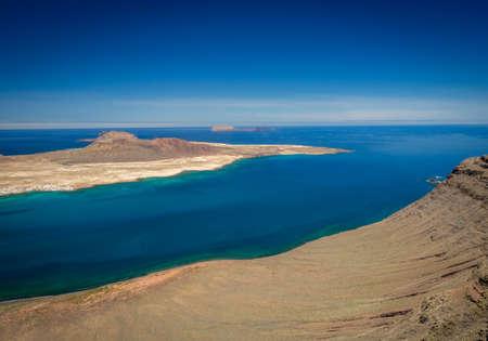 manrique: View of the La Graciosa, Allegranza and Montana Clara islands as seen from the Mirador del Rio, Lanzarote, Canary Islands, Spain Stock Photo