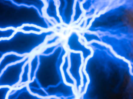 currents: Picture of random glowing blue electric currents traces Stock Photo