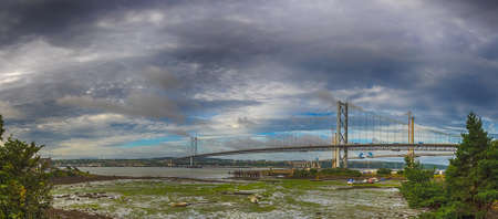 forth: Forth Rail and Road Bridges in Edinburgh, Scotland, connecting the towns of North and South Queensferry
