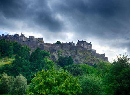 Royal Castle on a rocky hill in Edinburgh, Scotland, UK
