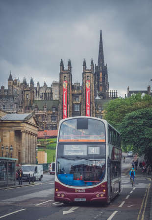 lothian: Edinburgh, Scotland -  30 August 2016 : Modern double deck bus operated by Lothian busses in the centre of Edinburgh Editorial