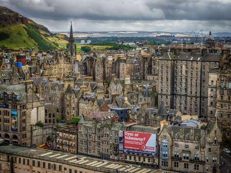 Edinburgh, Scotland -  31 August 2016 :  View of the centre of Edinburgh as seen from the Walter Scott monument