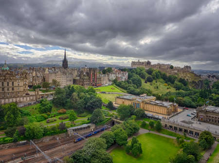princes street: Panoramic view of the roof of the Edinburgh Castle, Scotland, Great Britain