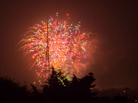 guy fawkes night: Fireworks over Crystal Palaca transmitting station on the Guy Fawkes Night also known as Bonfire Night, Fireworks Night on the 5th of November, London, England Archivio Fotografico