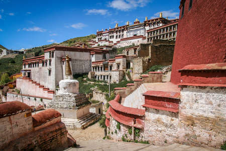 dalai: View of the Jokhang monastery near Lhasa in central Tibet. Stock Photo
