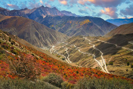 Stunningly beautiful mountain road through the Yunnan Province, China Stock Photo