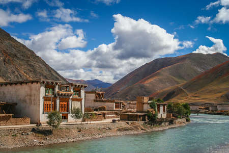 Traditional homes in one of the small Tibetan villages