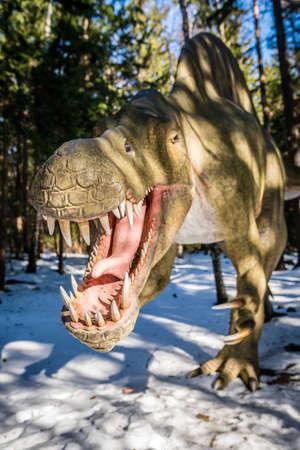 Szklarska Poreba, Poland -  February 2017 :  T-Rex in a private dinosaur Park in Szklarska Poreba, Karkonosze mountains, Poland