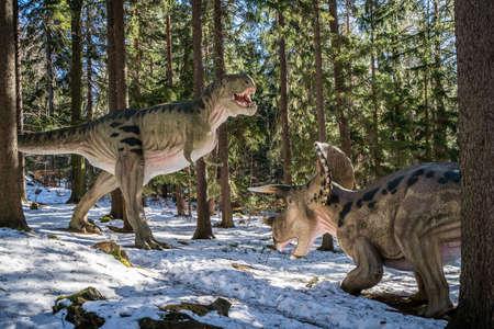 Szklarska Poreba, Poland -  February 2017 :  Dinosaurs replicas in a private dinosaur Park in Szklarska Poreba, Karkonosze mountains, Poland