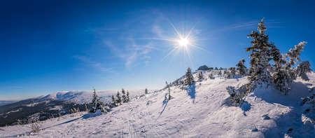 Panoramic view of a Karkonosze mountains as seen from the Szrenica mountain, Poland Stock Photo
