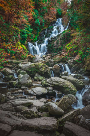 irish countryside: Beautiful Torc waterfall photographed in autumn in Killarney National Park, Ireland