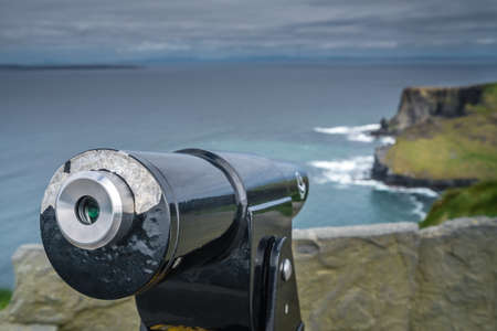 doolin: Viewing telescope on the Cliffs of Moher, Ireland
