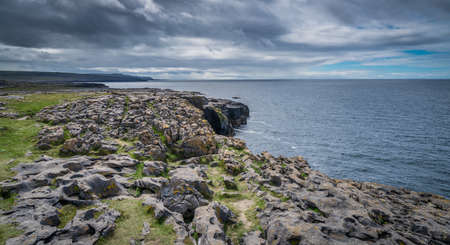 Panoramic view of the cliffs in Doolins Bay, The Burren, County Clare, Ireland