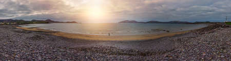 chaplin: Waterville, Ireland -  April 2017 : Panoramic view of the Ballingskelligs Bay Beach, Waterville, County Kerry, Ireland Editorial