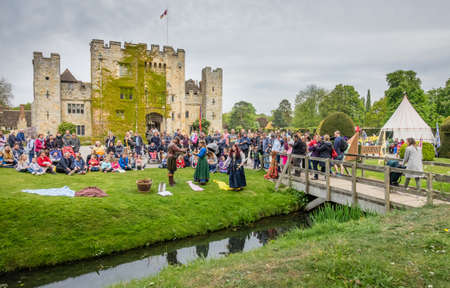 first day: Hever Castle, England -  April 2017 : The crowning of the May Queen at the May Day festival at the Hever Castle, childhood home of Anne Boylen, Kent, England, UK Editorial