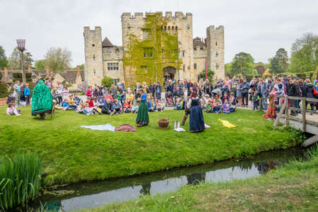 Hever Castle, England -  April 2017 : The crowning of the May Queen at the May Day festival at the Hever Castle, childhood home of Anne Boylen, Kent, England, UK Editorial
