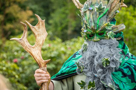 Hever Castle, England -  April 2017 : Portrait of the Green Man at the May Day spring festival at the Hever Castle, Kent, England, UK