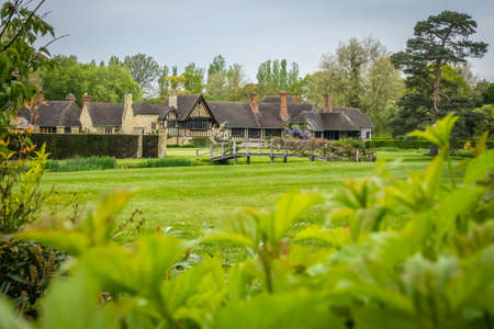 Hever Castle, England - April 2017 : Old cottages in the Hever Castle gardens, Kent, England