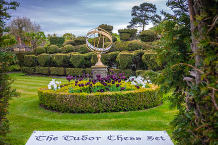 Hever Castle, England -  April 2017 : The Tudor Chess Set in the Hever castle gardens, Kent, England, UK