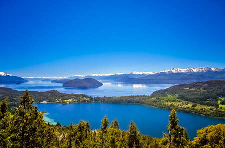 Stunning views of Lake District from viewpoint on top of Cerro Campanario, Argentina