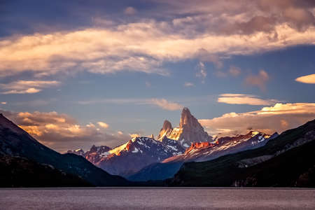 Stuning and impressive Mount Fitz Roy near El Chalten In Patagonia, Argentina Stock Photo