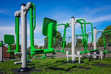 suburbs: New empty outdoor exercise equipment in one of London suburbs Stock Photo
