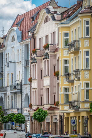 Bydgoszcz, Poland -  August 2017 : Colourful facades of old historical tenement houses on the Dworcowa street Publikacyjne
