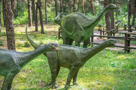 Solec Kujawski, Poland -  August 2017 :  Small diplodocus dinosaurs statues in a forest