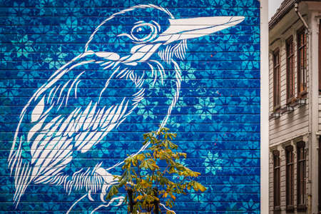 Bergen, Norway -  October 2017 :  Large blue bird graffiti art on the wall of a home Editorial