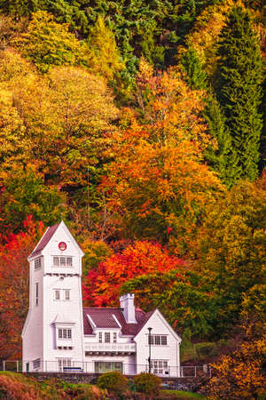 The old Skansen Battalion Fire Station building in Bergen in autumn, Norway Banque d'images