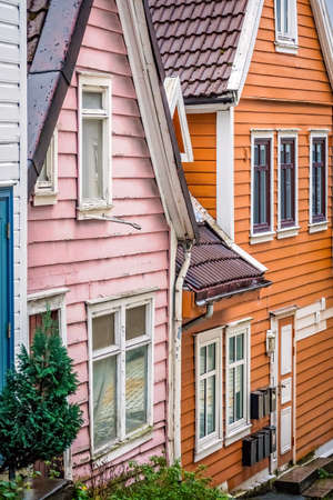 Traditional colorful houses in the old part of Bergen town, Norway