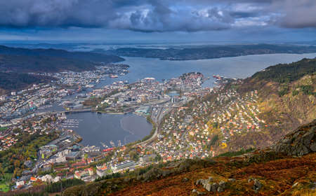 View of Bergen town and bay as seen from the summit of Mount Ulriken, Norway Stock Photo