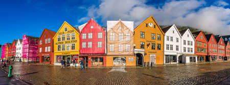 Bergen, Norway -  October 2017 :  Panorama of the colorful houses in the historic Bryggen area in Bergen, site on the UNESCO World Cultural Heritage list, Norway