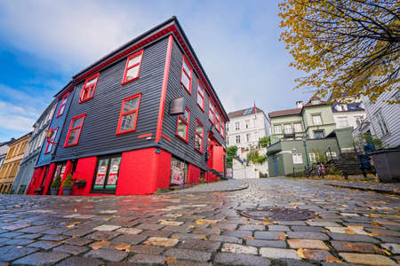Bergen, Norway -  October 2017 :  Red and black beauty parlor in Bergen city centre, Norway