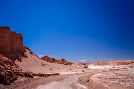 Road through the famous Valle the la Luna near San Pedro de Atacama in Chile