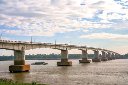 Bridge over the mighty Mekong river, Kampong Cham town, Cambodia Stock Photo